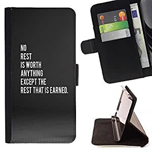 Momo Phone Case / Flip Funda de Cuero Case Cover - sauf le repos qui est gagné - Motorola Moto E ( 2nd Generation )
