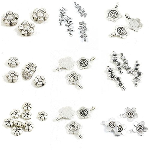 37 Pieces Antique Silver Tone Jewelry Making Charms Cherry Blossom Plum Loose Beads Peach Branches Blossoms Flower Branch