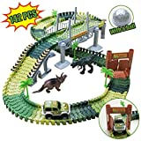 Kalining 142 Piece Dinosaur Race Track Car for Kids,Dinosaur World Dinosaur Toy Race Cars...