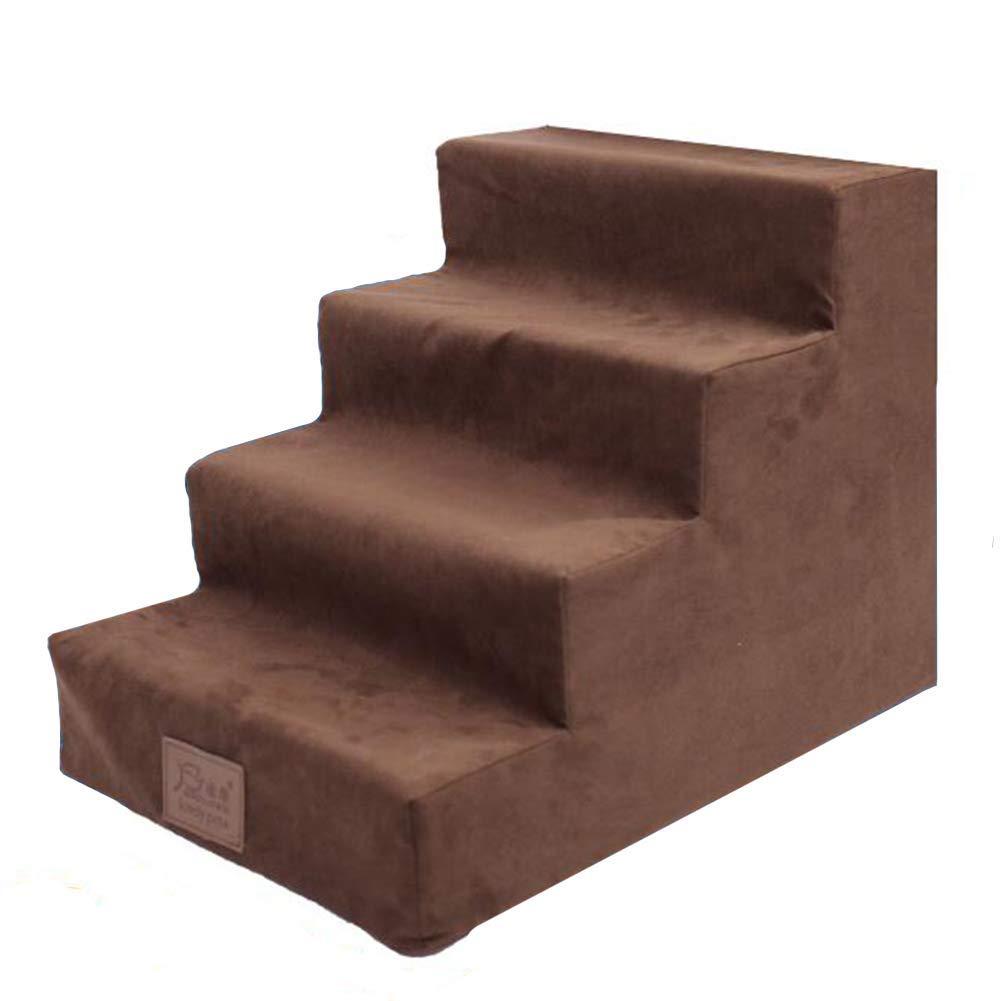 Caldo cesto di animali domestici di lusso scale cane Marroneee, 4-Step per gatti   cani per letti alti, scala a doghe per divano letto alto, portatile, copertura lavabile rimovibile ( colore   Marronee )