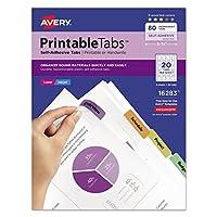 Avery 16283 Pestañas de plástico imprimibles con adhesivo reposicionable, 1 3/4, surtido (paquete de 80)