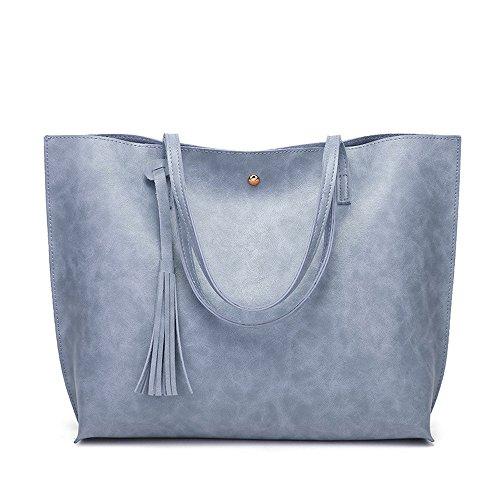 STRIR Bolso Mujer Cuero Moda Bolso Bandolera Grande Capacidad Casual Suave Piel Bolsa de la Compra Bolsa Mensajero Azul