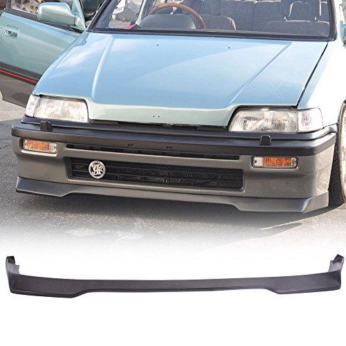 Front Bumper Lip Spoiler Fits 1988-1991 Honda civic | Ikon Style Black PU Front Bumper Lip Spoiler Bodykit Splitter Diffuser Air Dam Chin Diffuser by IKON MOTORSPORTS | 1989 1990