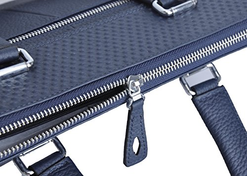 Haagendess Business Mens Bag Leather Laptop Briefcase Hand Bag (Blue) by haagendess (Image #5)