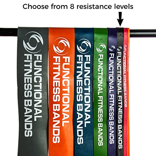 Functional Fitness Pull up Resistance Band #3 - Black 30-50lbs (14-23kg) – For Pull Up Assistance Muscle Ups Calisthenics CrossFit Powerlifting Physical Therapy Full-Body Workouts. +Bonus Pullup PDF