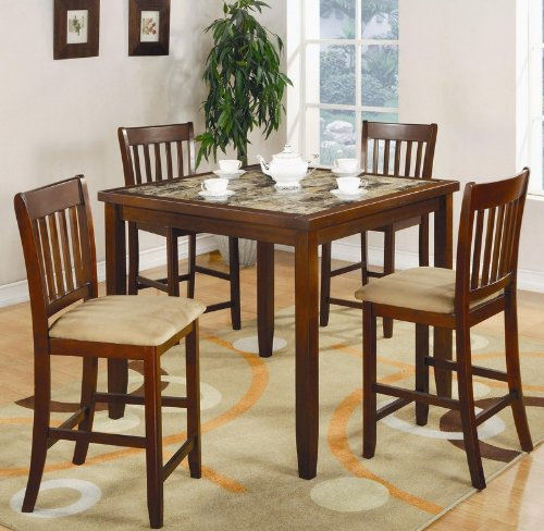 5pc Counter Height Dining Table and Stools Set in Cherry Finish