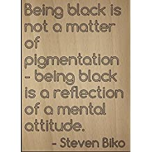 """""""Being black is not a matter of..."""" quote by Steven Biko, laser engraved on wooden plaque - Size: 8""""x10"""""""