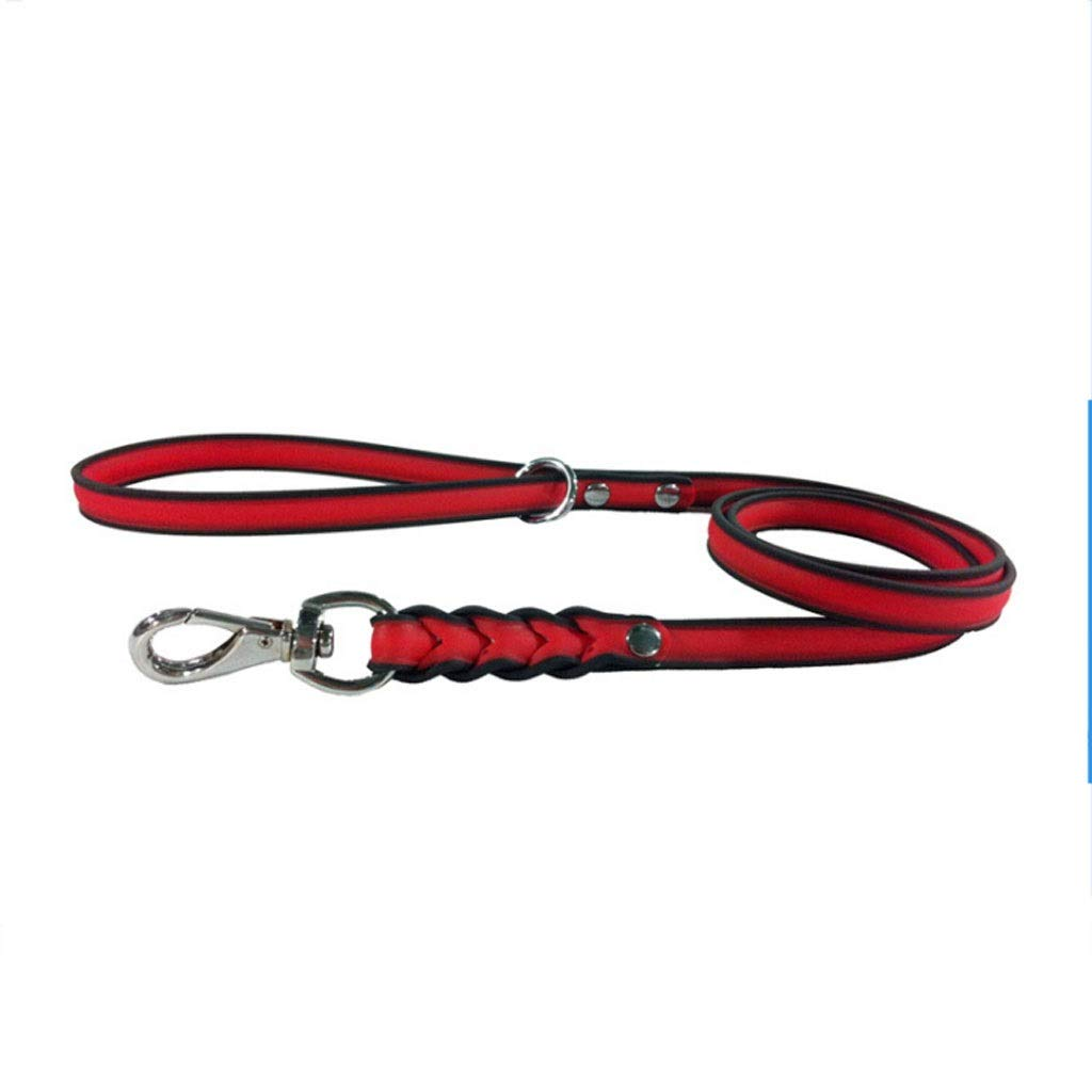 RED Dog Leash PVC Waterproof Collar Pet Supplies Dog Chain (color   RED)