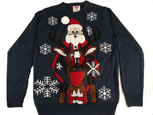 (Ugly Christmas Sweater that Holds a Beer Santa Riding Reindeer (Large))