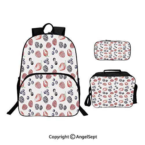 - Fashion Casual School Student Backpack,Cute Fruit Figures Strawberry Blueberry Raspberry Doodle Style Illustration Red Indigo Black,Lightweight Daypack With Lunch Bag And Pencil Case For Girls