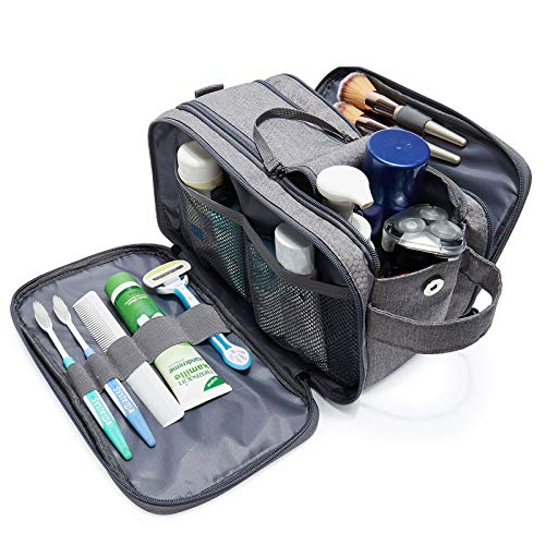 WANDF Large Toiletry Bag with Wet Separation Pocket Travel Toiletry Organizer Full Opening Zippers Dopp Kit Shaving Bag for Toiletries Accessories