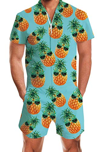 Personalized Mens Pajamas (Male Set Casual Short Blue Romper 3D Novelty Pineapple Print One-Piece Jumpsuit Pants Fashion Personalized Funny Summer Romphim for Boyfriend Husband Performance Music Festival Size)