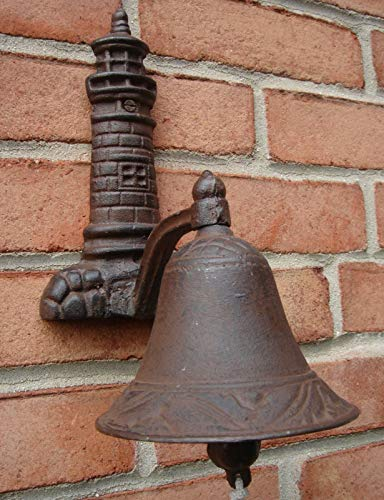 (zinsquare_shop Cast Iron Lighthouse Welcome Loud Tone Bell Beach House Coastal Home Bell Cast Iron Vintage Dinner Antique Farm School Wall Mount Cow Rustic Church Large Decor Heavy Old Door Brown meas)
