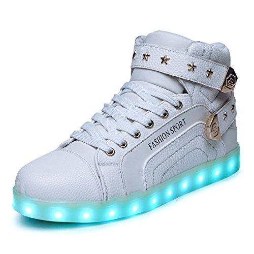 Honeystore Schuhe USB Aufladen 7 Farbe Leuchtend Sportschuhe Sneakers High-Top Turnschuhe Freizeit Schuhe fuer Unisex-Erwachsene Herren Damen Kinder Weiß
