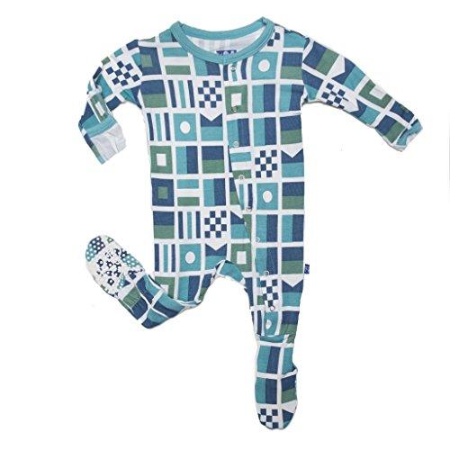 KicKee Pants Baby Boys Footie Pajama-Natural Nautical Flags, Newborn