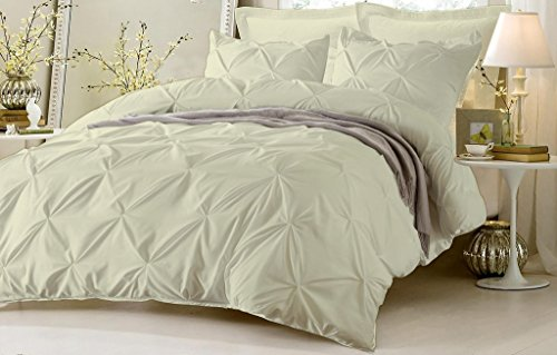 Hypoallergenic 100% Egyptian Cotton 1000 Thread Count 3 Piece Pinch Pleated Duvet Cover Set With Zipper and Corner Ties (1 Duvet Cover 2 Pillowshams) By Kotton Culture (Cal King / King, Ivory) (Moss Night Rose Light)
