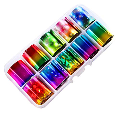 LiPing Holographic Nail Art Transfer Foil Sticker For Nail Tip Decoration DIY 10 Color Colorful DIY Nail Art Decoration Tool ()
