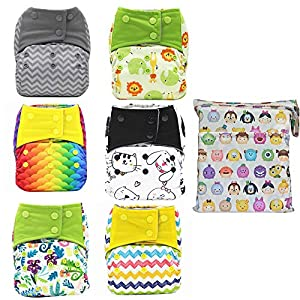 AIO Reusable Washable Cloth Diaper Nappy Charcoal Bamboo Insert Overnight (6PCS Diapers +1PC Wet Bag) (Group-A)