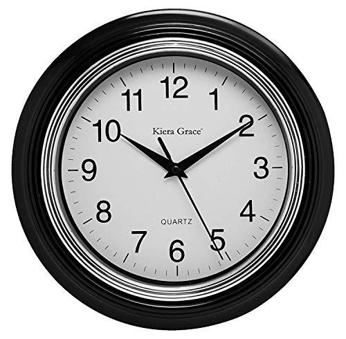 Wall Bronze Clear Flat (Kiera Grace Aster Round Wall Clock, 10 Inch, 1.5 Inch deep - Black)