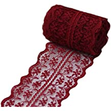 """Qinlee Dark Red Lace Ribbon Trim 1.8"""" X 10 Yards Bridal Wedding Scalloped Edge Floral Lace Roll for Hair Bow Making Decorative Bridal Wedding DIY Gift Sewing"""
