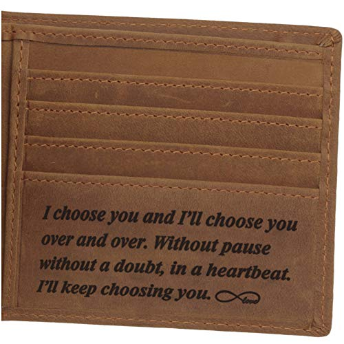 Leather Wallet for Men, Personalized Engraved Gifts for Men, Anniversary Gifts for Husband or Boyfriend, Personalized Gifts for Him, Mens Engraved - Custom Message Gifts