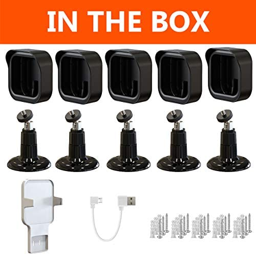 Blink Outdoor Wall Mount, Weatherproof Protective Cover and 360 Degree Adjustable Mount with Blink Sync Module 2 Outlet Mount for All-New Blink Outdoor Indoor Security Camera System (Black, 5 Pack)