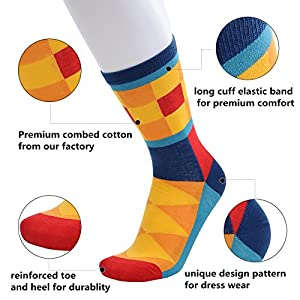 WEILAI SOCKS 6 Pack Mens Colorful Geometry Design Cotton Rich Casual Dress Crew Socks