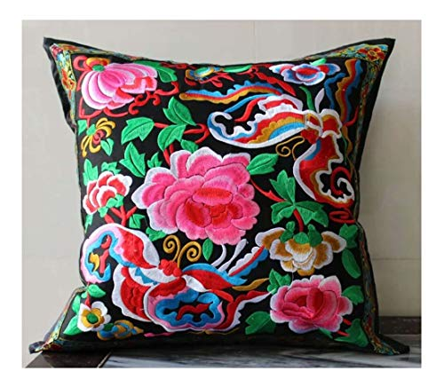 (SFG Chinese Embroidered Decorative Pillow Cover 18 x 18 Multicolored and Pink Floral with Butterflies)