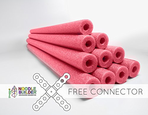 Oodles of Noodles Deluxe Foam Pool Swim Noodles - 10 Pack Red 52 Inch Wholesale Pricing Bulk Pack and Free Connector