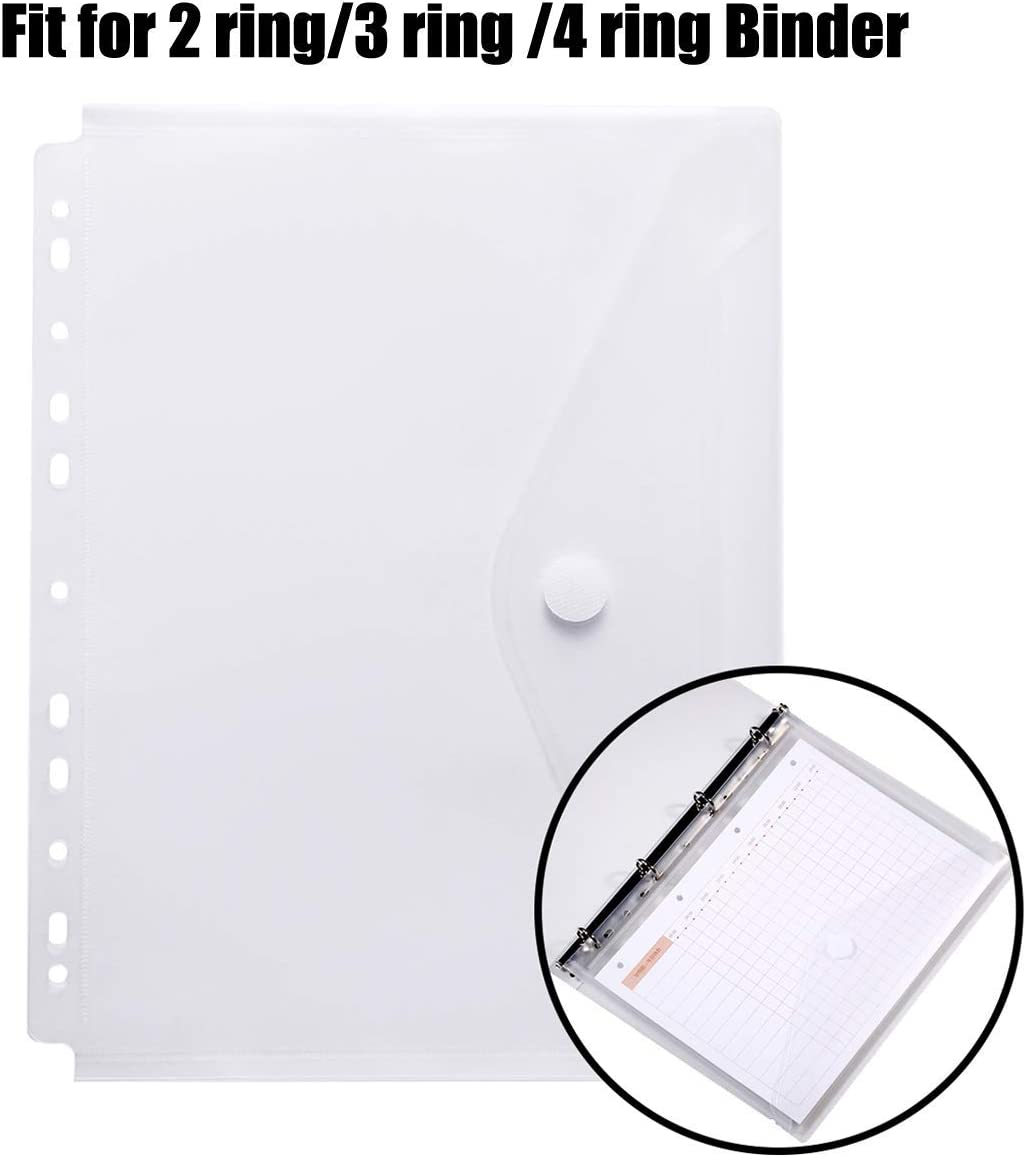 YoeeJob 11 Holes Semi Poly Envelope Pocket Insert Pages for Binders, with Hook and Loop Closure Assorted Colors,Letter Size 5 Packs.