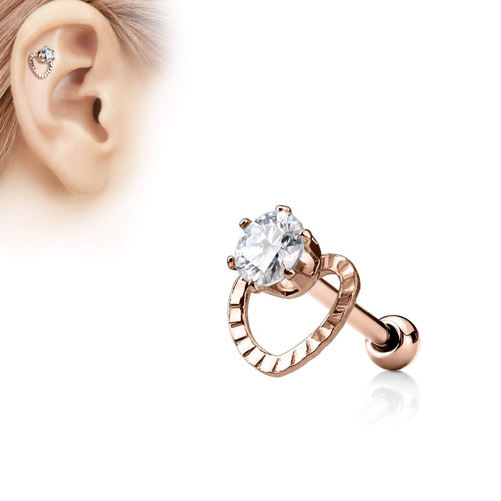 adit/_mc 1 Pc Rose Gold CZ Hollow Heart Top Surgical Steel Helix Tragus Cartilage Barbell Stud Earring