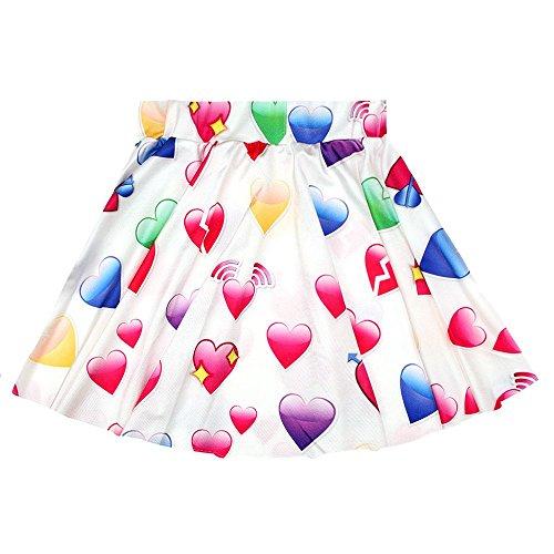 Sasairy las mujeres grandes de las muchachas plisadas alta cintura una línea de mini flores del vestido / impresión digital / Emoji / Galaxy estiramiento falda del patinador Color 13