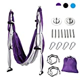 CO-Z Aerial Yoga Swing Sling Strong Yoga Hammock Kit Set Trapeze Inversion Exercises Include Ceiling Mounting Kit and 2 Extensions Straps