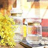 cyl home Vases Cylinder Clear Hammered Glass Flower Arrangement Vase Brass Gold Band Decor Dining Table Centerpieces Gifts for Wedding Housewarming Party,11.8'' H x 5.4'' D