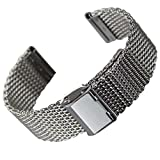 Geckota Classic Milanese Mesh Stainless Steel Watch Strap Polished Silver, 22mm