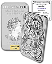 2018 - Present (Random Year) 1 oz Silver Bar Australia Perth Mint Dragon Series Rectangular Coin Brilliant Unc