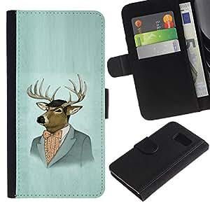 Paccase / Billetera de Cuero Caso del tirón Titular de la tarjeta Carcasa Funda para - Deer Portrait Art Drawing Painting Suit Vintage - Samsung Galaxy S6 SM-G920