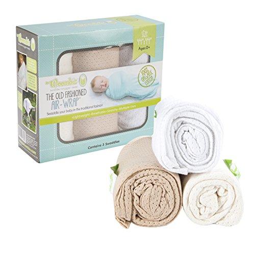 Woombie-44-Inch-Organic-Airwrap-Vented-Blankets-3-Piece-WhiteCreamTan