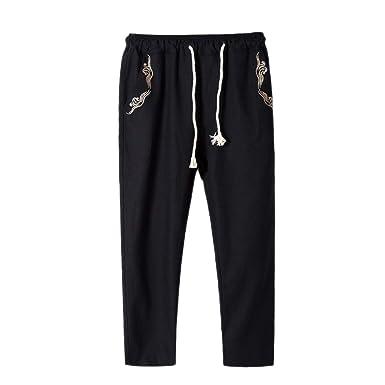 Hombre Pantalones Chandal Verano Pantalones de Algodón de Lino ...