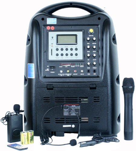 Hisonic HS678 Portable & Rechargeable 130 Watt PA (Public Address) System with Dual Wireless Microphone System & MP3 Player, Black by Hisonic