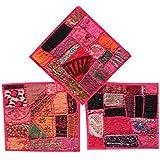 Mogul 3pc Cushion Covers Vintage Pink Patchwork Decorative Pillow Cover 16 x 16