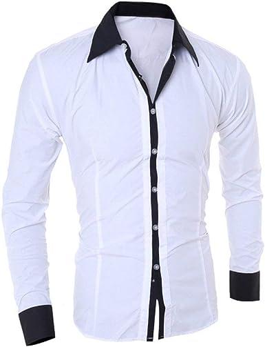 Hombres De La Manera De Camisa Hombres De Delgada Los Joven La Blusa Camisas De Los Hombres Básicos Camisa De Cuello Stand Camisa Casual Top Casual Business: Amazon.es: Ropa y accesorios