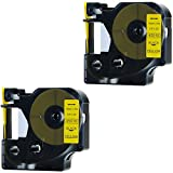 DYMO 45018 Label Tape, LaBold 2 Pack Black on Yellow Label Tape Cartridge Compatible for DYMO Standard D1 45018 Label Manager 1/2'' x 23' (12mm x 7m)