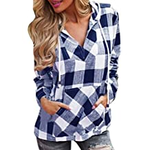 Todaies Womens Hoodie Blouse Womens Pullover T-Shirt Plaid Hoodie Long Sleeve Blouse Top