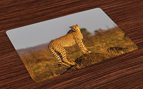 Ambesonne Safari Place Mats Set of 4, African Wild Animal Cheetah Standing on Termite Mound Savannah Nature View, Washable Fabric Placemats for Dining Room Kitchen Table Decor, Ginger Apricot Dust