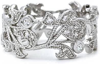 Sparkly Bride Vintage CZ Flower Leaves Rhodium Plated Wide Band Fashion Statement Ring