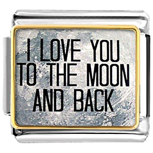 Moon Italian Charm Bracelet - Pugster I Love You To The Moon And Back  Etched Venta de estilo italiano Fit Link Bracelet