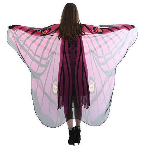 vermers Women Chiffon Shawl Lady Long Butterfly Wing Cape Soft Scarf Scarves Wrap Shawl Nymph Costume(Hot Pink) -