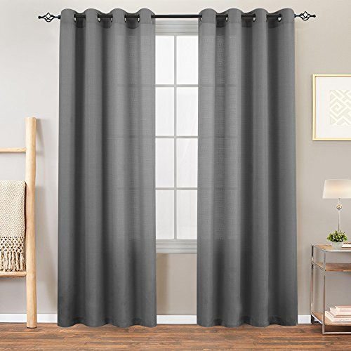 Grey Semi Sheer Curtains for Bedroom Heavy Sheer Curtains 95 inches Length Casual Weave Textured Privacy Living Room Window Curtain Panel 2 Panels Gray Sheer Curtains