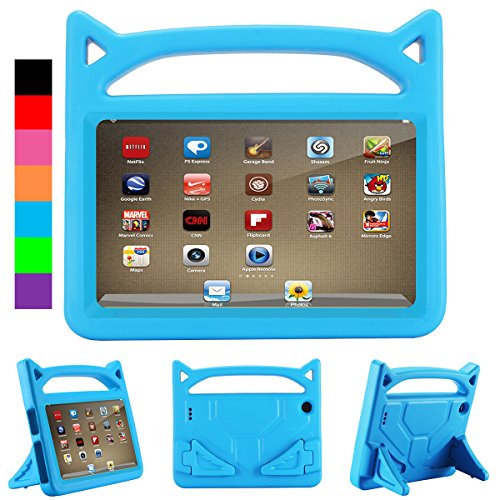 All-New F i r e HD 8 Case (2016 6th Generation&2017 7th Generation) - Riaour Kids Shock Proof Protective Handle Cover Case for F i r e HD 8 Tablet (Blue 0)